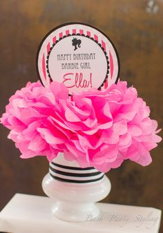 Barbie centerpiece at Barbie Bash! More party ideas at: https://www.facebook.com/BashCandyDessertBuffets
