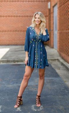 Free People Star Gazzer Embroidered Dress - Cheeky Peach Boutique