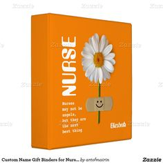 Nurses Day / Nurses Week / Graduation from Nursing School / Nurse's Birthday / Any occasion Smiling Daisy Design Gift Binder for Nurses with personalized name. Matching cards, postage stamp and other products available in the Business Related Holidays / Nurses Day Category of the artofmairin store at zazzle.com