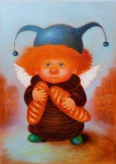 Купить Булочки - ангелочек, ангелочки, картина с ангелочками, картина маслом, булочки, ангелочек булочки