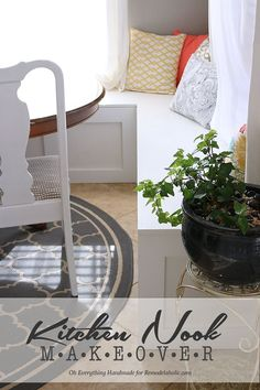 Make over a kitchen nook by adding a banquette bench! Build it with Oh Everything Handmade @Remodelaholic