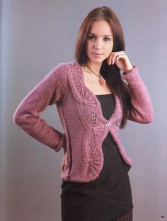 Pink jacket with one button Knitting Stitches, Knitting Designs, Knitting Patterns, Freeform Crochet, Knit Crochet, Crochet Jacket, Pink Jacket, Pullover, Girls Sweaters