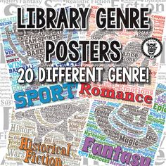 Library Genre Posters - Word cloud with colorful icons.
