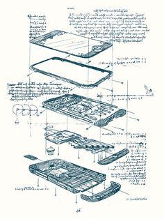 From the long-lost journal of Leonardo da Vinci... His Renaissance cell phone!