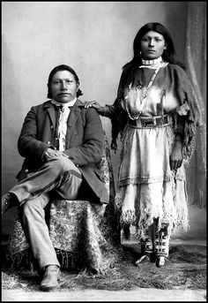 Ute Chief Ignacio, (Weeminuche Ute) and possibly his wife. Photographed between 1870-80.