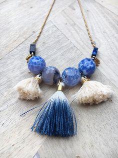 Finola Jewelry || NONA // LAPIS LAZULI & TASSEL NECKLACE $115.00 Blue Agate AA Lapis Lazuli Handmade Tassels Durable Gold Filled Clasp 1″ Extender Chain