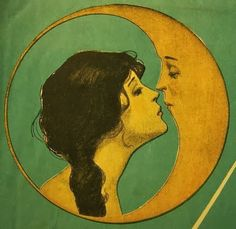 Vintage illustration love moon
