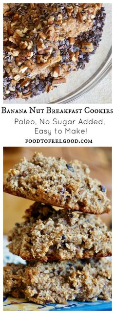 These soft, fruity Banana Nut Breakfast Cookies are an amazing way to start your day!  Full of protein and healthy fats, they also have some crunchy bites of cacao nibs and pecans.  Not only are they delicious, but they are super easy to make! Click the Visit button to find the full recipe on my blog, foodtofeelgood.com.