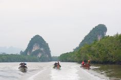 Long-tail boats heading back toward Krabi from Khao Khanab Nam cave in Thailand. Krabi Town, Boat, Tours, River, Outdoor, Outdoors, Dinghy, Boats, Outdoor Games