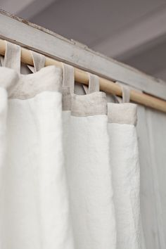 Tab top stonewashed linen curtain. White and Natural. Two colours. Home decor. Custom sewing. by MagicLinen