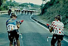 Richard Virenique 7 times KOMs having a fun water fight with Luc Leblanc 1994 Tour de France