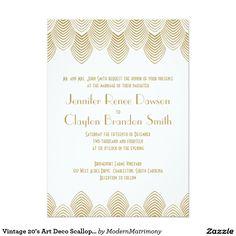 Vintage 20's Art Deco Scallop White Gold Wedding