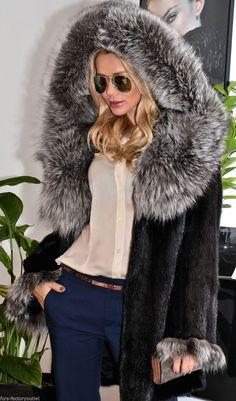Black Saga Mink FUR Coat Silver FOX Hood Nerz Like Sable Chinchilla Jacket Vest | eBay