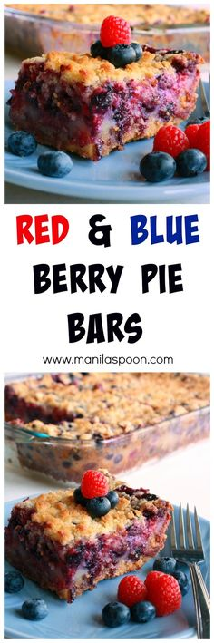 Full of fruity deliciousness are these Red and Blue Berry Pie Bars that are perfect for any special gathering or summer party! Tried and tested crowd-pleaser!