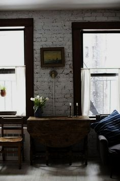 White Wash Brick, White Brick Walls, Brick Feature Wall, Brick Images, Drop Leaf Table, Natural Home Decor, East Village, Decoration, Home Remodeling
