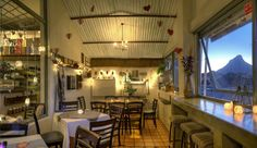 Sidewalk Cafe, Cape Town, rustic space, stunning view and food. Sidewalk Cafe, Cafe Restaurant, Stunning View, Cape Town, Bed And Breakfast, South Africa, Places To Go, Rustic, Dining