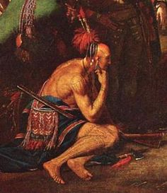 A detail from Benjamin West's heroic, neoclassical history painting, The Death of General Wolfe depicting an idealized Native American American Indian Art, Native American History, Native American Indians, Shawnee Indians, Early American, Rio Grande, Woodland Indians, Seven Years' War, American Frontier