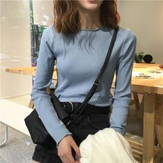 itGirl Shop CURLY EDGE BASIC COLORS LONG SLEEVE SLIM KNIT BLOUSE Aesthetic Apparel, Tumblr Clothes, Soft Grunge, Pastel goth, Harajuku fashion. Korean and Japan Style looks