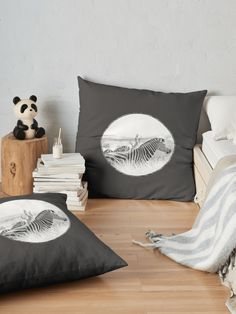 """Zebra in the grass "" Floor Pillow by Mandsred1 