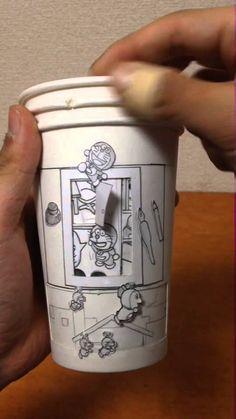 Japanese Artist creates a Doraemon cartoon with Multi-Layered Paper Cups