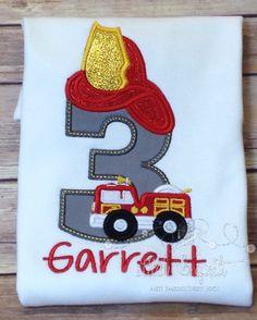 Firetruck Birthday Party Shirt, Fireman, Fireman Birthday, Firetruck Birthday…