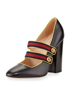 S0ERT Gucci Carly Mary Jane Leather Pump, Black/Gold