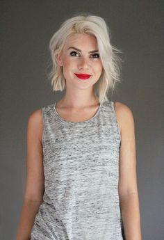 Platinum blonde, white, blunt, bob, straight, choppy, edgy, red lipstick