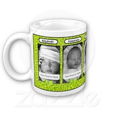 Trendy Green Leopard Photo And Name Coffee Mug