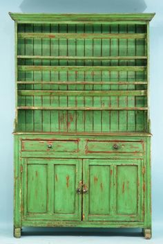 Lot: 26: ANTIQUE GREEN IRISH DRESSER, CIRCA 1840's, Lot Number: 0026, Starting Bid: $1,600, Auctioneer: Lewis & Maese Antiques, Auction: Lewis & Maese Feb.18 & 19 Fine Art Auction, Date: February 19th, 2009 EET