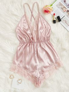 Product name: Contrast Lace Criss Cross Satin Romper Bodysuit at SHEIN, Category: Sexy Lingerie Lingerie Mignonne, Jolie Lingerie, Lingerie Outfits, Lace Lingerie Set, Pretty Lingerie, Women Lingerie, Sexy Lingerie, Lingerie Dress, Wedding Lingerie