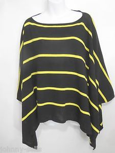 Ralph Lauren Purple Label Black Yellow Striped Cotton Poncho Pullover Top Womens