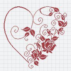 Cross Stitch Heart, Beaded Cross Stitch, Cross Stitch Borders, Crochet Cross, Cross Stitch Flowers, Cross Stitch Designs, Cross Stitching, Cross Stitch Embroidery, Embroidery Patterns
