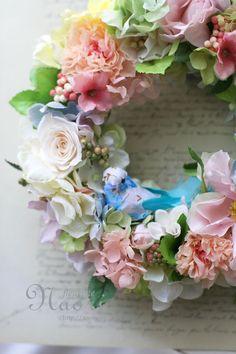 naori+florist | ... ローズのリース オレンジピンク Bird Wreath Flower Garden