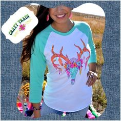 Buck Feathers & Flowers Baseball Tee It's now in! Crazy Train Tops Tees - Long Sleeve