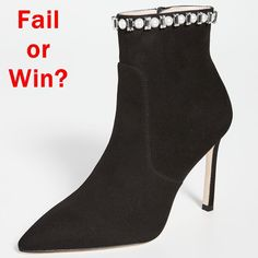 These ankle boots are embellished to perfection. Featuring an elegant mix of crystals and pearls on the topline, these bold pointed-toe booties are further boosted by a 95-mm stiletto heel and feature a side zipper for easy step-in and easy step-out. If you're looking for instant glam, look no further. High End Shoes, Shoe Company, Black Crystals, Stuart Weitzman, Designer Shoes, Stiletto Heels, Ankle Boots, Toe, Booty