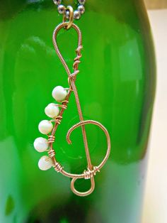 Guitar String Treble Clef with Cream Beads by FiveRsTreasures