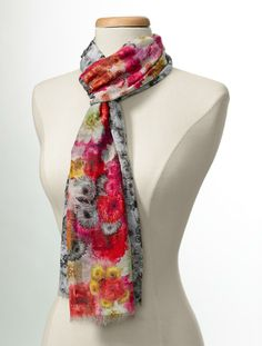 Welcome #spring in style with this #Talbots Flower Blocked Scarf.