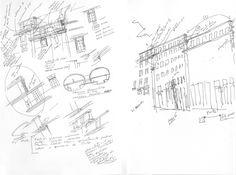 Alvaro Siza, sketches for the reconstruction of the Chiado quarter, Lisbon.