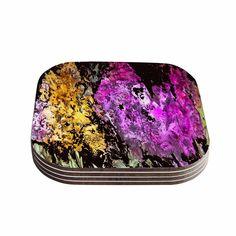 """Rosie Brown """"Garden Glows"""" Gold Purple Coasters (Set of 4)"""