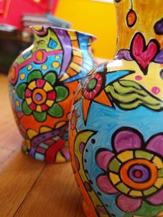 whimsy...painted vases ;o