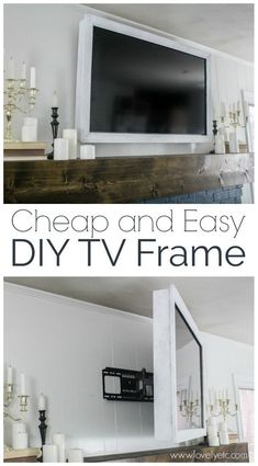 How to make a cheap and easy DIY TV frame.  This TV frame is simple, lightweight, and swivels with your TV. #lovelyetc #tvframe #DIYhomedecor #decorate