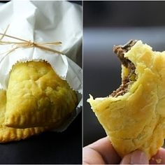 Jamaican Beef Patties - flaky crust, savory and spiced meat filling. Wanna make these? Then come over to Tastes Like Home.