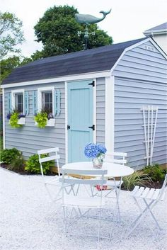 A big part of the exterior of my she shed was adding a white gravel patio. Today Im sharing the tutorial - DIY gravel patio along with our plantings. Backyard Storage Sheds, Shed Storage, Small Storage, Paint Storage, Outdoor Sheds, Outdoor Rooms, Outdoor Baths, Gravel Patio, Pea Gravel