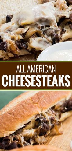 All American Cheesesteaks ~ juicy ribeye steak, caramelized onions and mushrooms, gooey provolone cheese and a mouthwatering horseradish sauce. it's the perfect All-American Cheesesteak! Steak Sandwich Recipes, Steak Recipes, Cooking Recipes, Steak Sandwich Sauce, Steak Hoagie Sauce Recipe, Steak Tips, What's Cooking, Caramelized Onions And Mushrooms, Gourmet