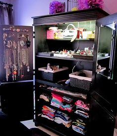 Need to remember this!!  Repurposed TV Armoire...  What girl wouldn't love this!  Room for all her jewelry, makeup, hair stuff, and clothes below.