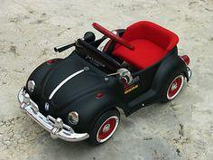 Image detail for -Vintage Pedal Bug VW Car Refurbished Original Matt Black Pedal Car ...