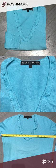RL Black Label Turquoise Cashmere Ruffle V-Neck Ralph Lauren RL Black Label Turquoise Cashmere Ruffle Trim V-Neck Sweater. Excellent condition. No stains, holes or pills Ralph Lauren Black Label Sweaters V-Necks