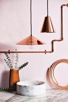 Rose-toned copper accessories styled by Jessica Hanson for Inside Out magazine. Photograph by Sam McAdam-Cooper