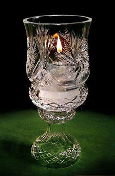 Crystal Gifts, Stemware, Vases, Rare Colors, European Quality!: Large Hand Cut Polish Crystal Hurricane Lamp - Reg. $229 BEAUTIFUL GEM! - IN STOCK