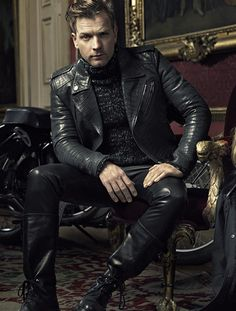 Ewan Mc Gregor in Leather ! Leather Fashion, Leather Men, Leather Jackets, Belstaff Leather Jacket, Belstaff Jackets, Leather Trousers, Grey Leather, Fashion Moda, Mens Fashion